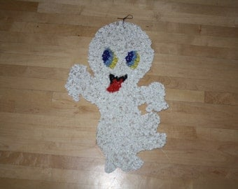 Melted Plastic Popcorn GHOST Halloween Decor Wall Hanging Plastic Ghost