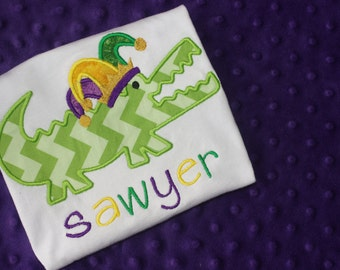 Mardi Gras Alligator Appliqued Shirt
