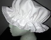 Mop Cap - White Muslin Eyelet Trim, S, M, L  Molly Cap, Sleep Cap,Colonial Cap, Mother Hubbard, Little Miss Muffit Mrs. Santa Clause