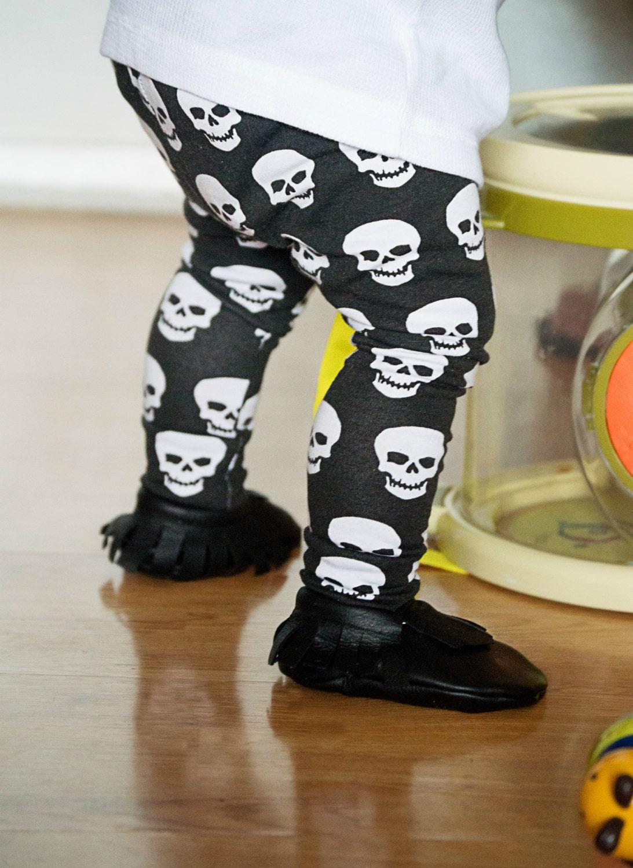 White Skulls on Black Baby Leggings for Boy Girl Trouser