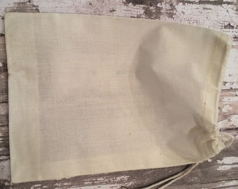 """Set of 25 Cotton Muslin Single Drawstring Bags, 5"""" X 6 3/4"""", Unprinted Natural Cotton Drawstring Bags, Wedding or Party Favor, Gift Bags"""