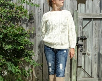Vintage 70s Irish Fisherman Chunky Hippie Boho wool hand knit jumper pullover -  Size Small