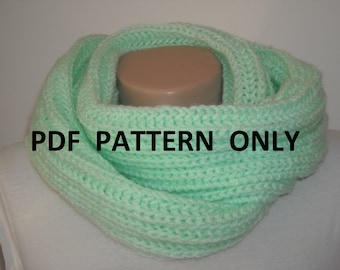 PDF pattern knit infinity  scarf , PDF pattern chunky knitted infinity  scarf ,Instant to download elegant scarf pattern