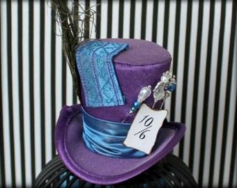 Purple Blue Mini Top Hat, Mad Hatter Hat, Mini Top Hat, Fascinator, Mini Hat, Top Hat, Mini Hats, Tea Party Hat, Wedding Hat, Women Top Hat,