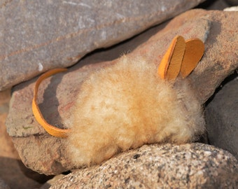 Mini Catnip Mouse, Real Tan Sheepskin