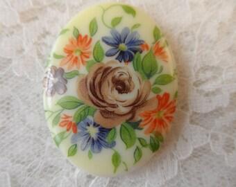 Vintage acrylic 40 x 30mm floral cabochon,1pc-CAB36