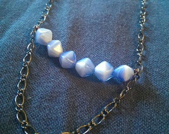 blue double layer necklace