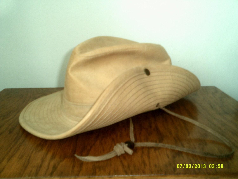 Mens Vintage Aussie Side Snap Cotton Canvas Safari Bush Hat