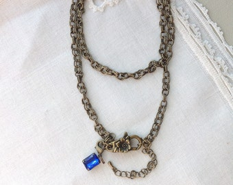 Floral Charm Necklace, Antique Brass Necklace, 24 inches, 61 cm
