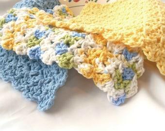 Cotton Kitchen Cloth Set - Cotton Bathroom Cloths - Spa Face Cloths - Spa Cotton Washcloth - Wash Cloth - Crochet Dish Cloth - Dishcloth