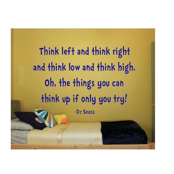 Dr Seuss Quotes Oh The Thinks You Can Think: Dr Seuss Quote Sign Vinyl Decal Sticker Wall Lettering
