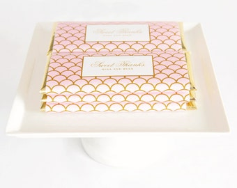 Elegant Scallop Personalized Candy Bar Wrapper. Choice of Gold, Silver, Gold Copper, Copper or Black Foil included.