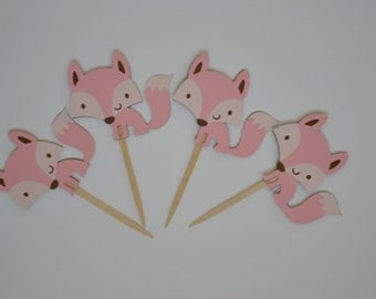 Pink Fox Cupcake Toppers