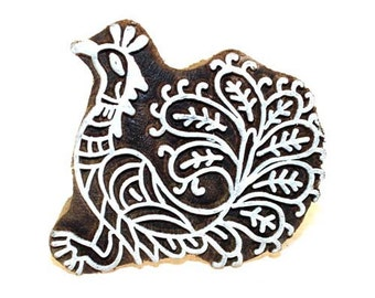 Handcarved Indian Wood Block Printing Stamp  - Large Pea Hen