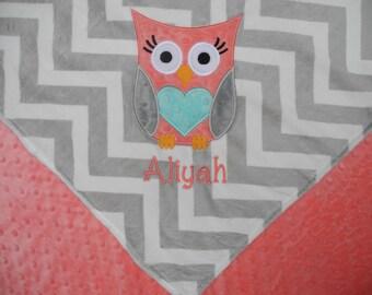 Personalized Baby Blanket, Owl Baby Girl Blanket, Custom Blanket, Minky Baby Blanket, Made to Order