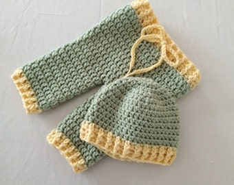 Baby Ribbed Hat & Pants Set - 0 to 3 Months, 3 to 6 Months, 6 to 12 Months - Any Colors