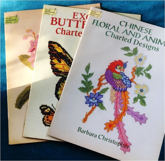 Vintage cross stitch pattern books birds butterflies flowers