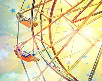 Ferris wheel, stars, sun, wall decor, wall hanging, wall art, yellow - nursery photograph