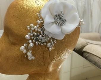 Freshwater Pearl & Swarovski Crystal Vintage Head Piece