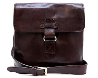 Mens shoulder bag hobo bag satchel leather bag crossbody dark brown honey brown made in Italy