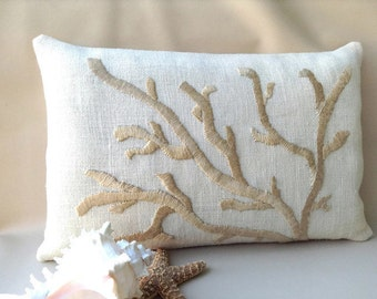Hand Embroidered Coral Pillow, Golden Cream on Ivory, Hand Made  Nautical Decor