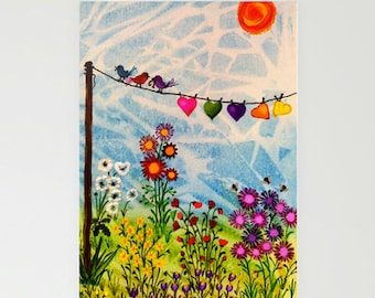 CARDS - blank, set of 3 - Birds on Wire