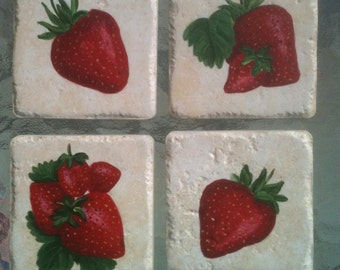 Strawberry Coasters; Hand Painted Set of Four Coasters on Tile; Hostess Gift or Party Ware