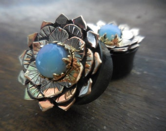 Opalite Brass Lotus Plugs On Ebony