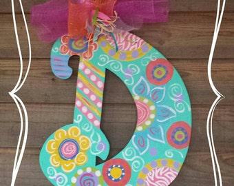 Super cute Spring Colorful Wooden Inital/letter Door hanger