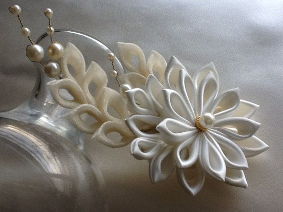 Hair Clip - Ivory Kanzashi Flower With Pearls Wedding Flowers Bridal Hair Flowers