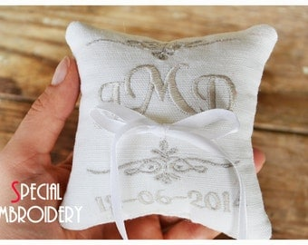 Embroidered Linen Wedding ring pillow ,4x4 wedding pillow , ring pillow, ring bearer pillow with Custom embroidery (LR4)