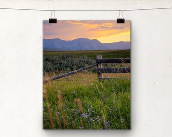 Mountain Sunset, Alberta Foothills, Rustic Fence, Colorful Photography