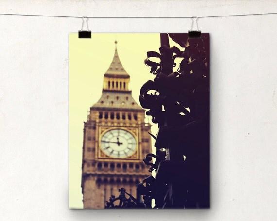 Big Ben London England, Gothic Clock Tower, Wrought Iron Gate, Yellow