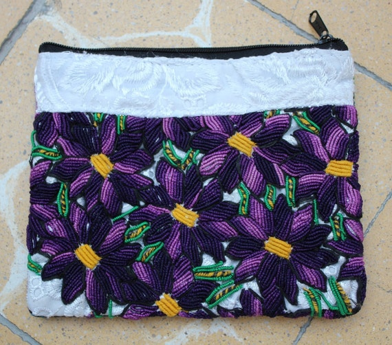 Mexican embroidered clutch white purple makeup bag by