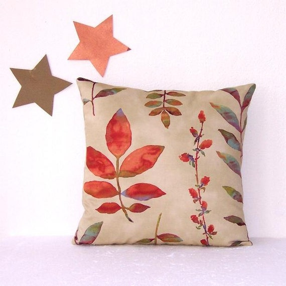 Orange Rust Brown Tan Pillow Cover 16 Waverly Leaf