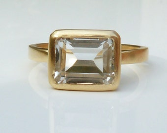 Gold, white topaz engagement ring, yellow gold topaz ring