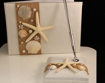 Beach Themed Seashell Pen & Guestbook / Wedding/ Destination Wedding / Shell / Starfish