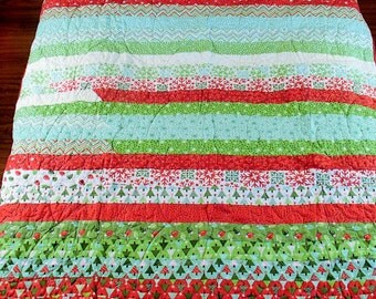 Christmas Jelly Roll Christmas Trees Snowflakes Christmas Lights with Red Minky Backing Handmade Machine Quilted Quilt