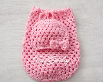 Pink Baby Girl Cocoon, Pink Newborn Cocoon, Pink Crochet Baby Cocoon and Beanie, Coming Home Outfit