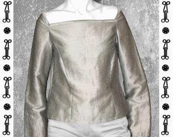 SALE !!! BLOUSE SILVER, silk, linen, long sleeve, slit, shiny, iriscent, modern, gray