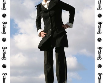 SALE !!!!! WOOL TROUSERS Classic, Tuxedo, Frock, Pin-tucked, pants, silver piping, black, tuck, fold, long, stretch, fall, winter