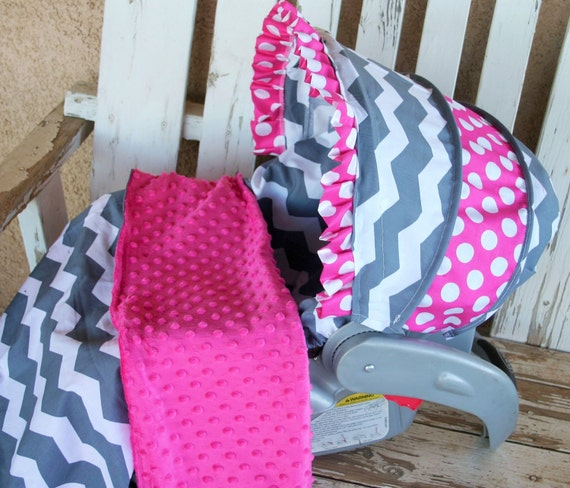 grey and white chevron and pink polka dot cotton car seat. Black Bedroom Furniture Sets. Home Design Ideas
