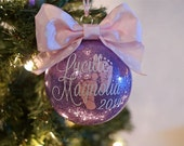 Custom Lavender Glitter Baby's First Christmas Ornament | Glitter