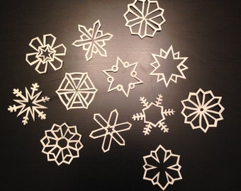 Small White Paper Snowflakes: Set of Twelve