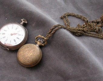Lot of 2pcs antique watches  Antique  Pocket Watch engarved  watch sterling silver bronze  necklace watch