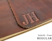 Up to 8 characters - Text embossed - We shape your name in leather - Personalize your leather book.