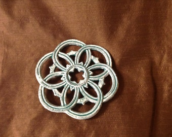 Cast Iron Distressed white and turquoise trivet
