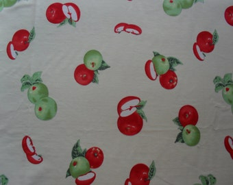 Red and Green apples on Cream Fabric