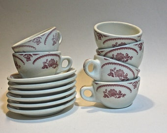 1950's Caribe China Restaurantware Chardon Rose Pattern Cups and Saucers