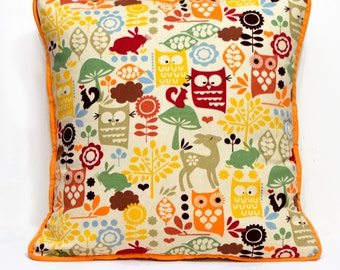 15 inches Colorful forest print Linen and Cotton pillow cover with piping , child's room decoration, throw pillow